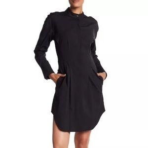 NWT THEORY Black Band Collar Cotton Shirt Dress